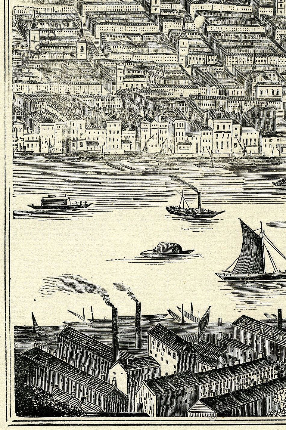 Panorama of the river thames in 1845