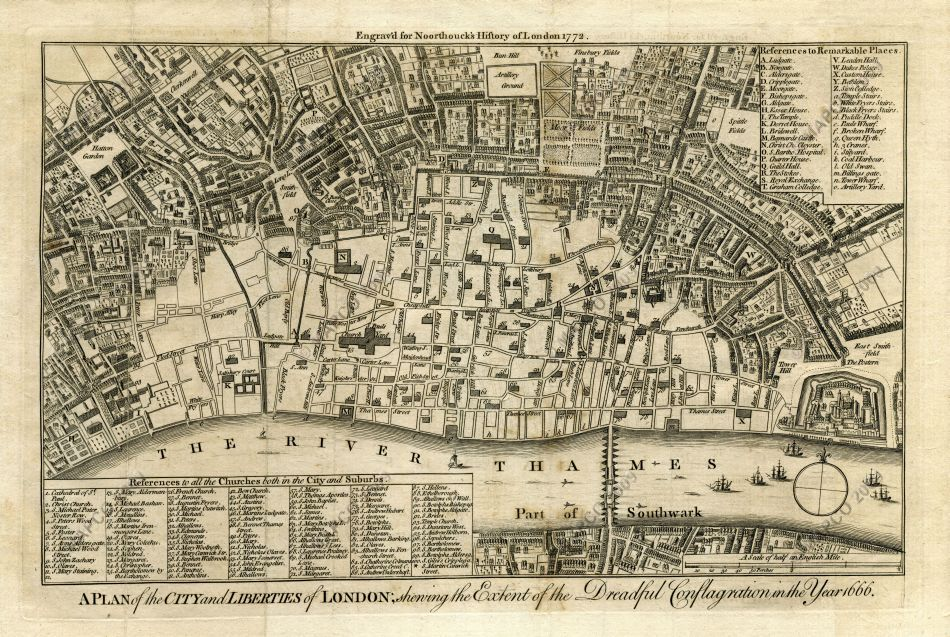 Mapco Map And Plan Collection Online Map Of The Great Fire Of London 1666